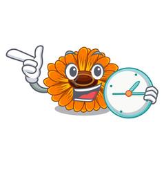 With clock calendula flowers in a cartoon basket vector