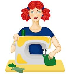 Woman sews vector