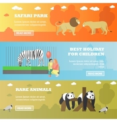 Zoo concept banners Animals in zoopark panda vector