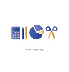 Budget cut scissors financial knowledge pencil and vector image