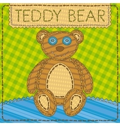 Funny patchwork with the Teddy Bear vector image