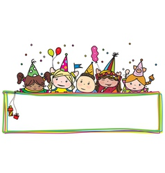 kids birthday frame vector image