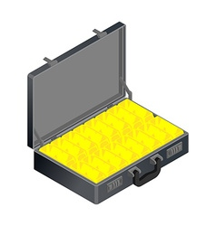 Suitcase with gold case with golden bullion vector