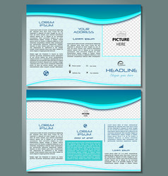 trifold brochure template with blue waves vector image