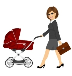 Business woman with briefcase pushing pram vector