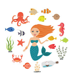 marine set little cute cartoon vector image