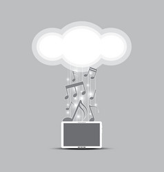 Music cloud computing concept vector