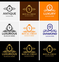 royal luxury heraldic crest logo set vector image