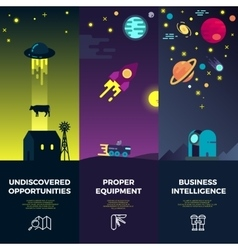 Space banners with flat astronomic ufo vector image vector image