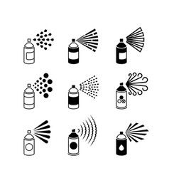 spray aerosol bottle graffiti can icons vector image
