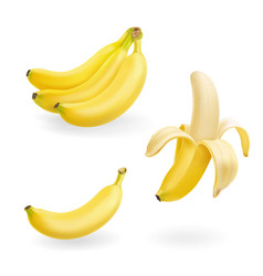 Banana fruit set realistic icons vector