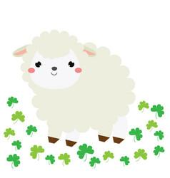 cute cartoon sheep lamb farm animal character vector image vector image