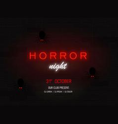 horror night light banner modern neon billboard vector image
