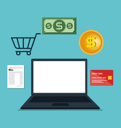 laptop computer electronic commerce vector image