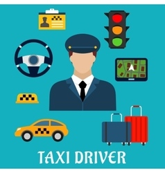 Taxi driver profession flat icons vector image
