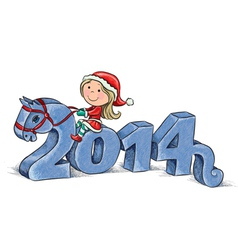 2014 Horse and Little Santa vector image vector image