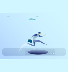 businessman jump over gap to success business man vector image