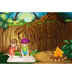 Children looking at map in the jungle vector image