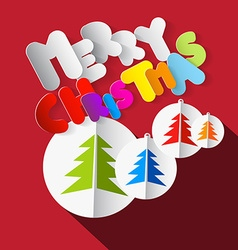 Merry christmas colorful paper cut title with xmas vector