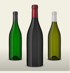set of three realistic wine bottles without vector image