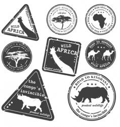 stamp wild Africa set vector image vector image