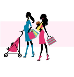 Two chick moms shopping vector image