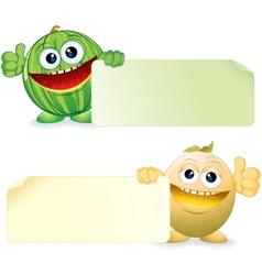 Watermelon and Melon Cartoon vector image