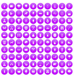 100 forest icons set purple vector