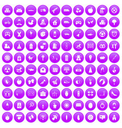 100 maternity leave icons set purple vector
