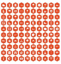 100 mountaineering icons hexagon orange vector