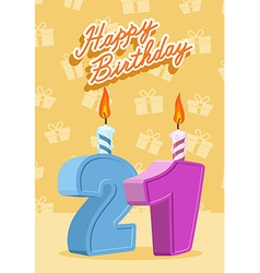 21 year Happy Birthday Card vector image