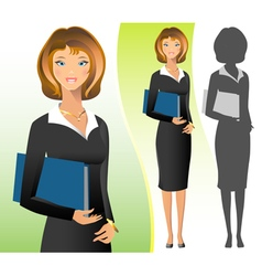 A business woman wearing suit smiling standing vector