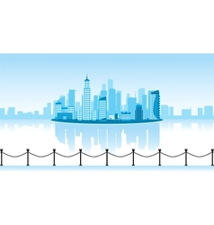 a city with reflection vector image