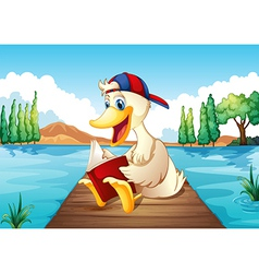 A duck reading a book at the port vector image