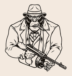Aggressive gorilla gangster vector