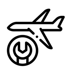 Aircraft wrench icon outline vector
