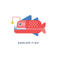 Angler fish sea carnivorous fish geometric flat vector