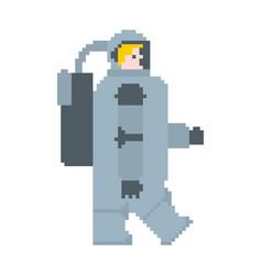 Astronaut pixel art cosmonaut 8 bit spaceman vector