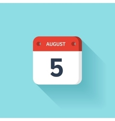 August 5 Isometric Calendar Icon With Shadow vector