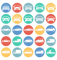 automobile icons set on color circles white vector image