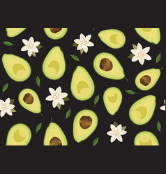 Avocado sliced seamless pattern with flower vector