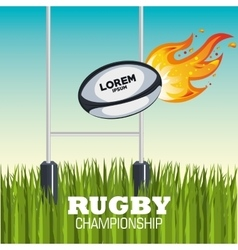 ball rugby flames field design vector image
