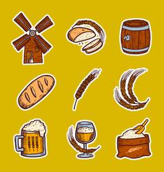 barley icon set hand drawn style vector image