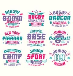 Baseball and rugcollege team sport emblems vector