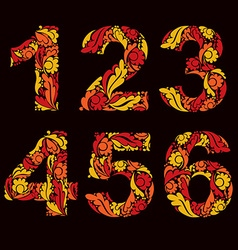 Beautiful floral numbers decorative digits with vector