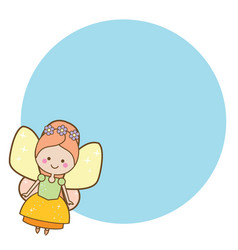 Beautiful little flying fairy character blue vector