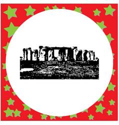 black 8-bit stonehenge isolated on vector image
