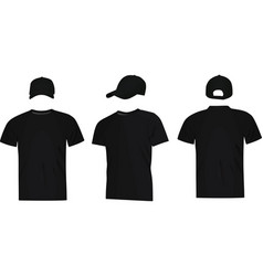 black baseball cap and t shirt vector image