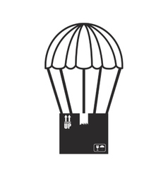 Black silhouette parachute with cardboard box vector