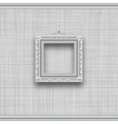Blank square picture frame on a gray wall with vector image